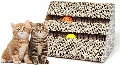 Amazon Com Yuiolil Cat Scratch Pad Scratcher With Catnip Scratching Posts Cat Toy Scratching Board Lounge Set With Bell Ball Cat Free Catnip By Ayuboom Home Kitchen
