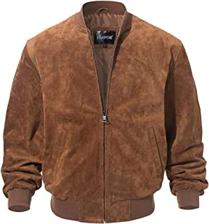 Men's Leather Baseball Bomber Jacket Vintage Suede Pigskin