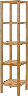 SONGMICS 100% 5-Tier Bamboo Bathroom Shelf, Narrow Shelving Unit, Multifunctional Storage Rack, Wood Corner Rack, for Kitchen, Livingroom, Bedroom, Hallway Natural UBCB55Y