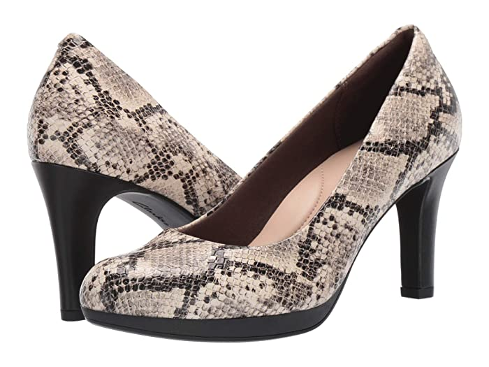 Clarks  Adriel Viola (Taupe Synthetic Snake Print) High Heels