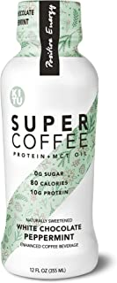 Kitu by Sunniva Super Coffee White Chocolate Peppermint Sugar-Free Formula, 10g Protein, Keto Approved, Lactose Free, Soy Free, Gluten Free, Pack of 12