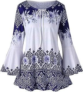 Toimoth Women Plus Size V-Neck Tie-Dye Print Long Sleeve Tops Pleated Waist Line Blouse