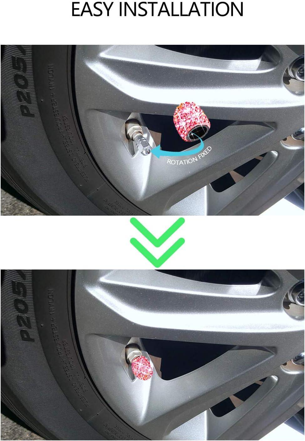 White Sparkling Handmade Crystal Rhinestone Universal Car Tire Valve Caps Chrome,Attractive Dustproof Bling Car Accessories Sikawai Tire Valve Stem Caps