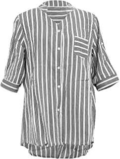 Wiwsi Women New Summer Stripe Shirts V Neck Cropped Sleeves Shirt OL Blouse Tops