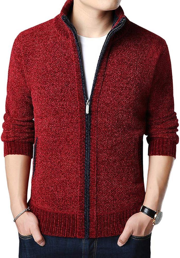 Allthemen C/árdigan de punto para hombre grueso con cremallera completa de lana cuello de soporte c/árdigans abrigo forro polar manga larga c/árdigan