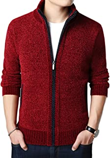 Allthemen Mens Knitted Cardigan Thick Sweater Full Zip Wool Stand Collar Cardigans Coat Fleece Lined Long Sleeve Cardigan