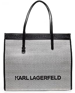 KARL LAGERFELD Tasche 211W3022 weiß geflochten mit Logo und Reißverschluss