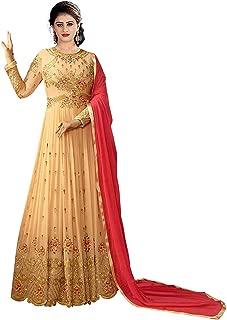 Mordenfab Women Faux Georgette Embroidered Semi Stictehd Salwar Suit(H136_Free Size)