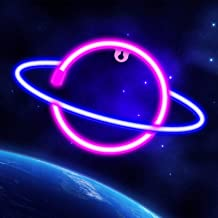 Neon Signs Lights for Wall Decor, USB or Battery Decorative Pink/Blue Planet Neon Sign LED Night Light for Bedroom, Valent...