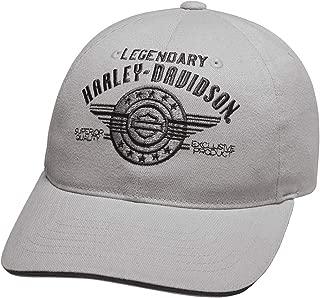 H-D Mens Legendary Logo B&S Grey Cotton Baseball Cap 97838-19VM