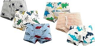 Jelord Calzoncillos Bóxer Niño Algodón Partón Dinosaurio Coches Animal Rayas Color/Blanco/Rojo Azul Disponibles en Pack de...