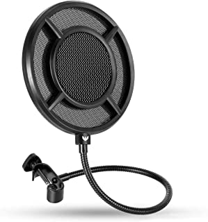 Mic Pop Filter, Professional Microphone Pop Filter Mask Shield for Blue Yeti and Any Other Microphone, WINDBOX Mic Dual La...