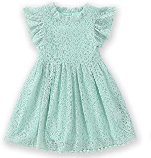 Toddler Girls Elegant Lace Pom Pom Flutter Sleeve Party Princess Dress