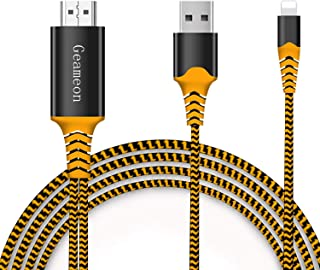 Geameon Compatible with iPhone iPad to HDMI Adapter Cable, 1080P HDMI Adapter Connector Cable, Digital AV Adaptor Cord for iPhone, iPad, iPod to TV Projector Monitor (Orange)