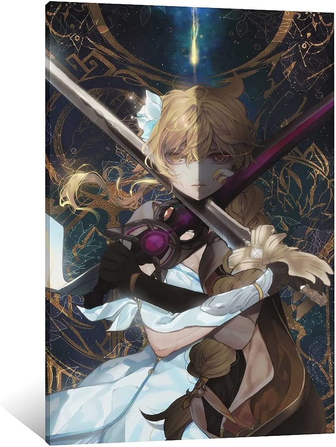 ZMQ Anime Cute Large discharge sale Girl Houston Mall Holding A Decoration Poster C Sword Painting