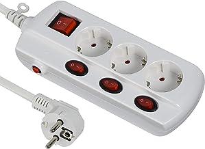Electraline 62500 stekkerdoos (3 stopcontacten, 4, algemene schakelaarsectie 3G1 mm², kabel 1,5 m), wit