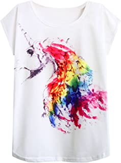 futurino Women's Summer Colorful Bow Tie Unicorn Print Short Sleeve T-Shirt Tops (XS/S, Rainbow Feather)