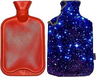 iColor بطری آب داغ لاستیکی 2 لیتری کیسه آب گرم قرمز کلاسیک با مجموعه جلد فلنل گرم گرم (آسمان آبی)