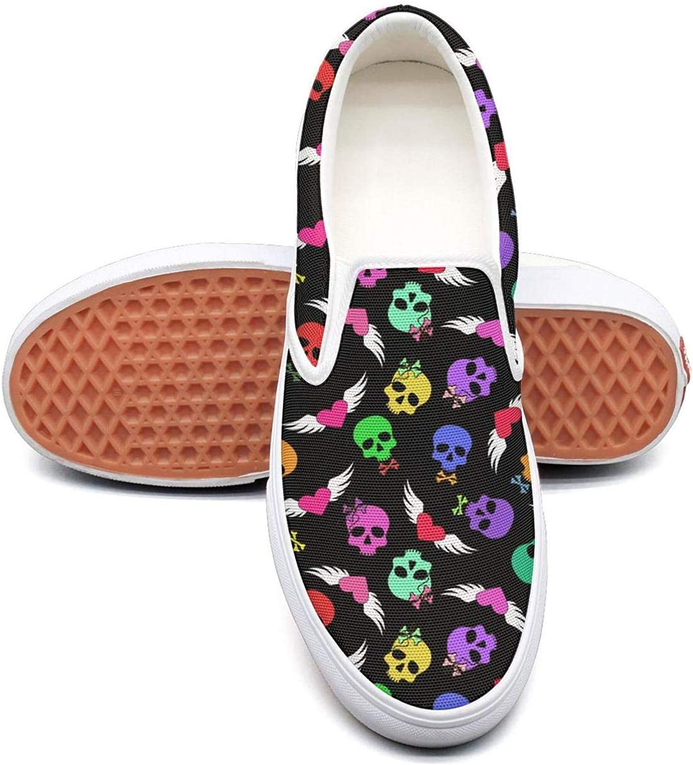 Skull Art and Winged Hearts bluee Slip On Superior Comfort Loafers Canvas shoes for Women Lightweight