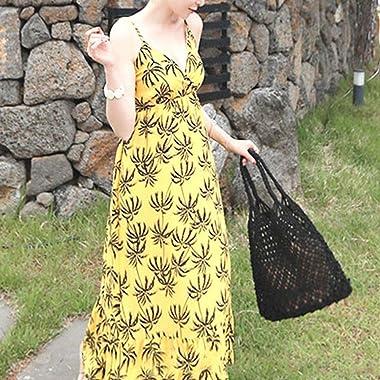 MUGBGGYUE Embrague Compile Bag Monedero, Mujeres Algodón Net Bolsa de Hombro Hilo Pulsera Bolso de Embrague Bolso de Envolven