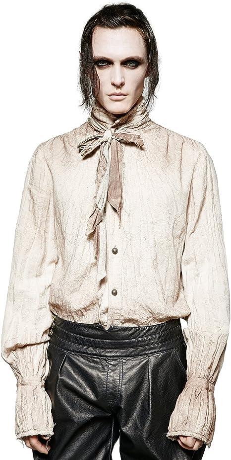 Punk Rave Camiseta de poeta Steampunk para hombre, color blanco, gótico VTG victoriano + corbata para bufanda