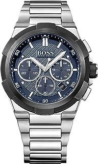 Hugo Boss Supernova Men's Dark Blue Dial Stainless Steel Band Watch - 1513360, Silver Band, Analog Display