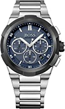 Hugo Boss Supernova Men's Dark Blue Dial Stainless Steel Band Watch - 1513360, Silver Band, Analog Display