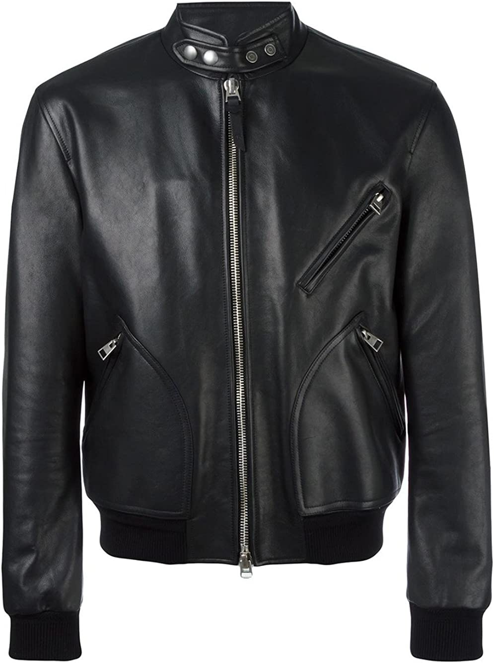 VearFit Militray Design Tailor Discount mail order Made Black Faux PU Bomber At the price of surprise Leather