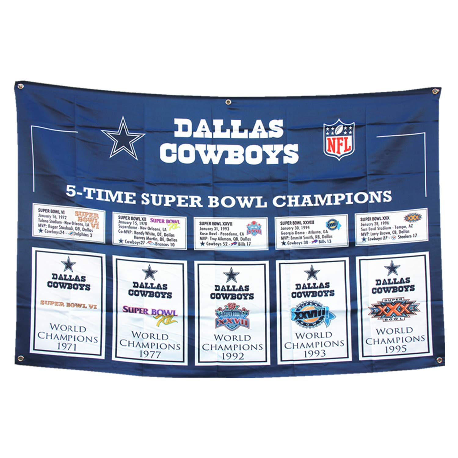 Dallas 5 in 1 'cowboys' Champions Flag 3x5 House Outdoor/Indoor Garden Flags Banner Gifts for Men Youth Mens Kids Women