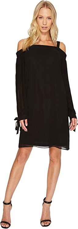 Solid Chiffon Off Shoulder Dress