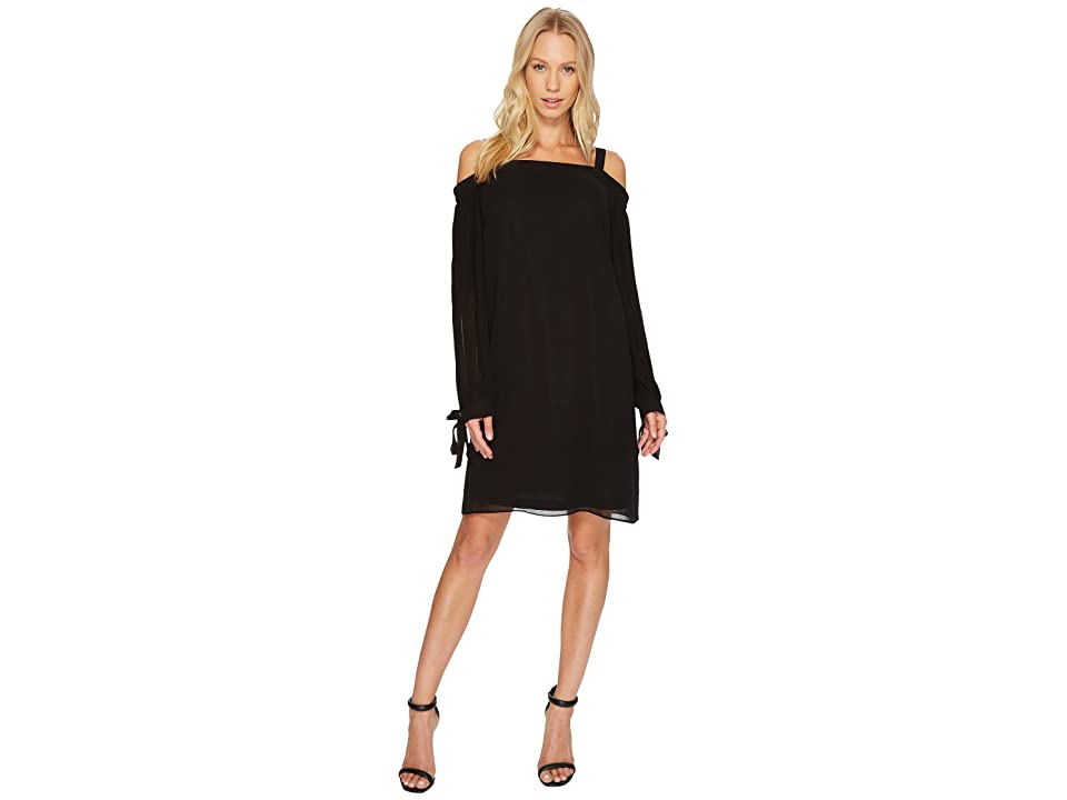 Tribal Solid Chiffon Off Shoulder Dress (Black) Women