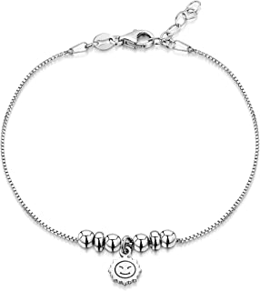 """Amberta 925 Sterling Silver Adjustable Ankle Bracelet - Chain 9"""" to 10"""" inch - Flexible Fit"""