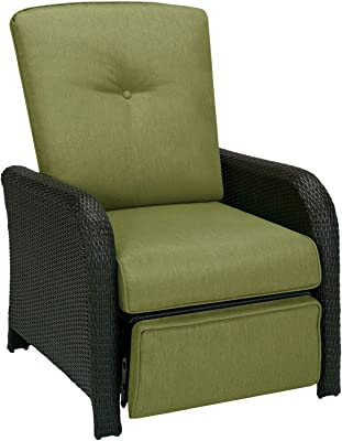 Hanover Strathmere Outdoor Luxury Recliner, Rich Brown/Cilantro Green
