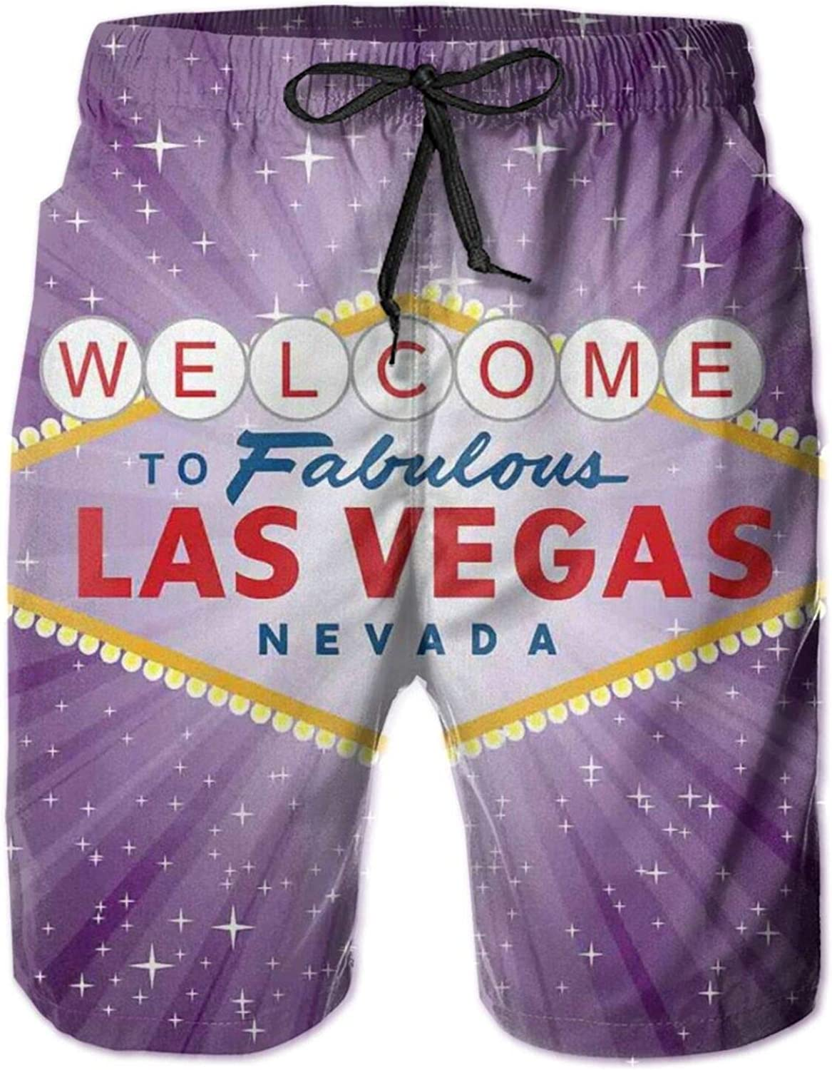 Welcome to Fabulous Las Vegas Sign United States Nevada with Starburst Stripes Mens Swim Trucks Shorts with Mesh Lining,M
