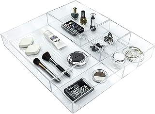 Ulinek Lot de 5 Boîte Rangement Empilable Transparent, Tiroir Compartiment pour Cuisine Bureau Maison Salle de Bains, Orga...