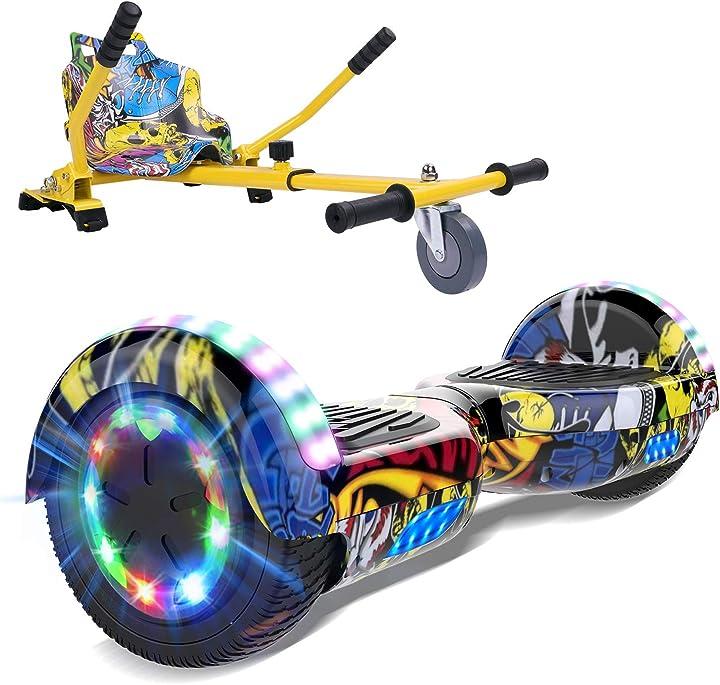 Hoverboards 6,5 pollici hoverkart scooter elettrico luci led,altoparlante bluetooth ruota colorata markboard EL-ES06