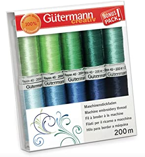 Gutermann Rayon 40 Tropical Paradise Machine Embroidery Thread Set 10 x 200m Reels