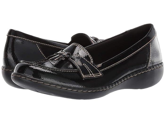 Clarks  Ashland Bubble (Black Crinkle Patent Synthetic) Womens Slip on  Shoes