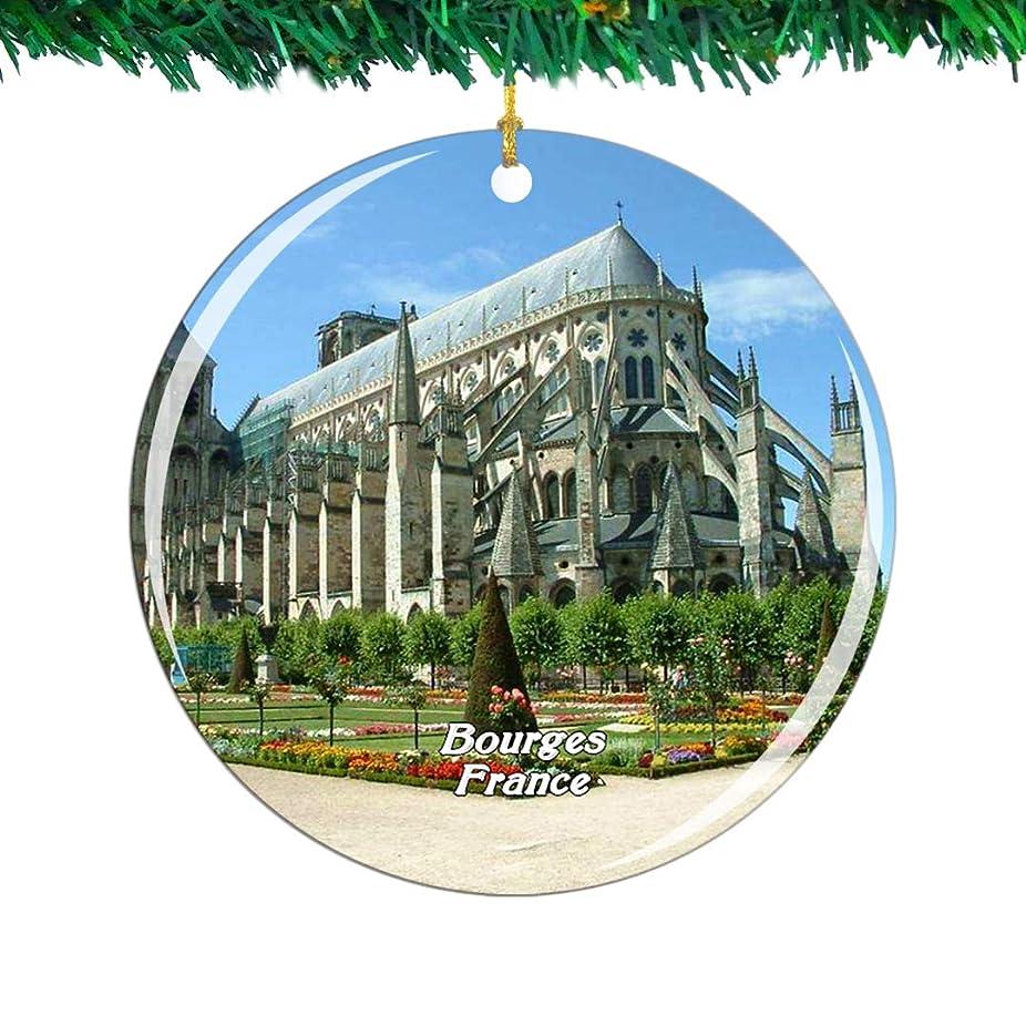 弁護士ご近所ナサニエル区Weekino フランス大聖堂ブールジュクリスマスオーナメントシティ旅行お土産コレクション両面 磁器2.85インチ ぶら下がっている木の装飾