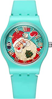 Kids Watch,Christmas Watches Cute Silicone Band Quartz Wrist Watch for Children Aged 3-15 with Christmas Socks