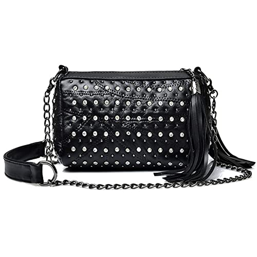 64a7c015853b Punk Rivets Rhinestone Studded Crossbody Purse Shoulder Bag with Tassels
