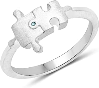 LoveHuang 0.01 Carats Genuine Blue Diamond (I-J, I2-I3) Minimalist Puzzle Ring Solid .925 Sterling Silver With Rhodium Plating