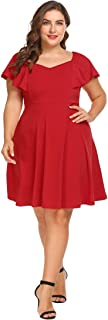 IN'VOLAND Women's Plus Size Official Retro Ruffles Cap Sleeve Business Swing Dress