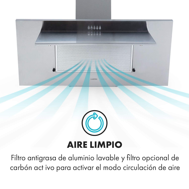 Klarstein Athena 90 extractor de humos - 90 cm, 300 m³/h, 69 W, 3 niveles de potencia, clase B, extracción y ventilación, 2 luces LED, acero inoxidable, plateado: Amazon.es: Hogar