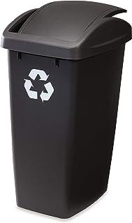 Rubbermaid Swing N' Toss Swing-Top Wastebasket Recycle Bin, 50-Quart, Cashmere
