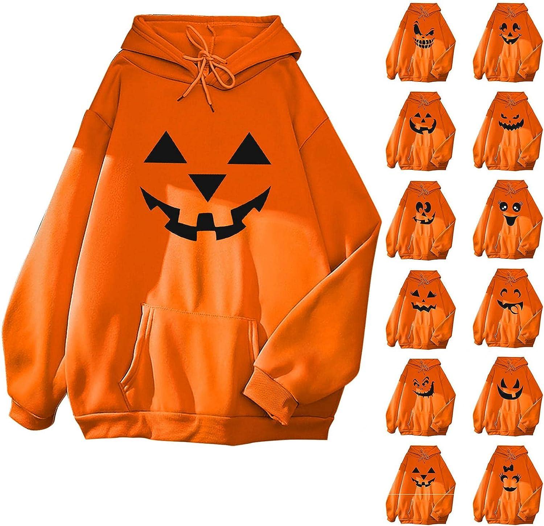AIHOU Halloween Shirts for Women Long Sleeve Pumpkin Face Sweatshirt Cute Hoodies for Women Black Cats Printed Pullover Tops