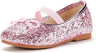 DREAM PAIRS Girl's Toddler/Little Kid/Big Kid Belle_01 Mary Jane Glitter Ballerina Flat Shoes