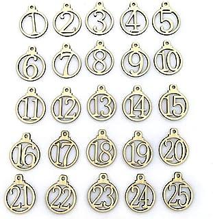 Yaosh 1-25 numerów zawieszki do odliczania liczb drewniane świąteczne odliczanie kalendarz adwentowy numer zrób to sam zaw...