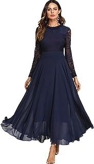 c3838683bb6 SOLY HUX Femme Robe à Manches Longues Fluide en Dentelle Contrastée Maxi  Robe Long Robe Plissé