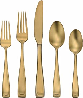 Oneida Moda Lux, Brushed Gold Stainless, 45-Piece Set with Service for 8